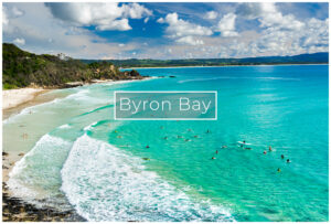 Byron bay waves and surfers nsw australia
